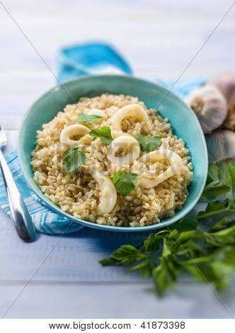 risotto with squid ring