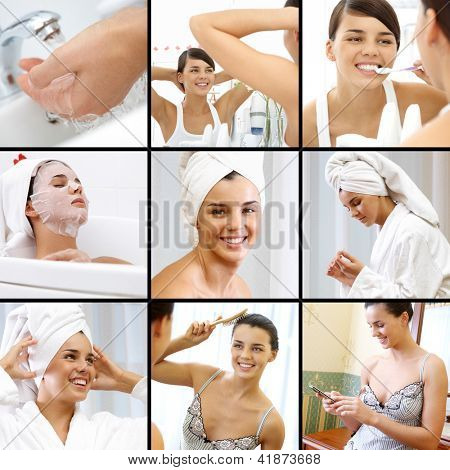 Collage of pretty female making beauty and hygiene procedures