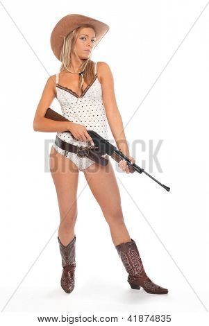 Attractive american woman with semiautomatic riffle. Gun control against self defense concept.