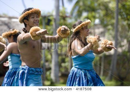 Hawaiian Dancers On Canoe