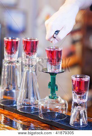 Barman Making Cocktail Drinks