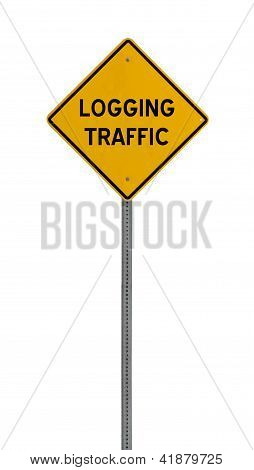 Isolated Yellow driving warning sign logging traffic