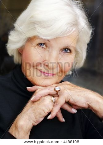 Senior Woman On Black