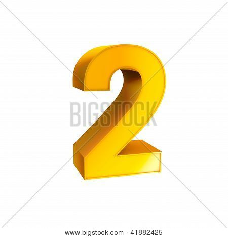 Gold Alphabet Number Character Two 2
