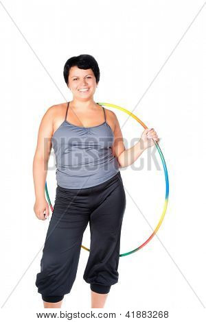 fat woman with hula hoops