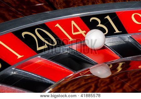 Classic Casino Roulette Wheel With Red Sector Fourteen 14