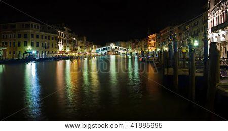 Night View Of Rialto Bridge, Venice, Italy