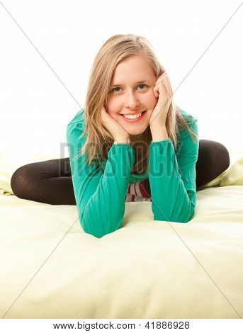 Attractive Girl Smiling In Bed