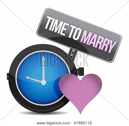 White Clock With Words Time To Marry