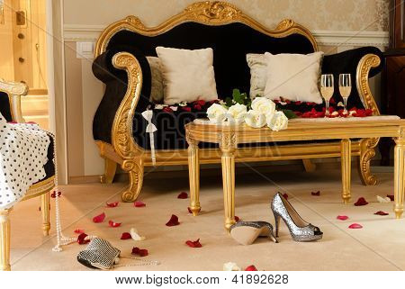 Gorgeous hotel room prepared for celebration