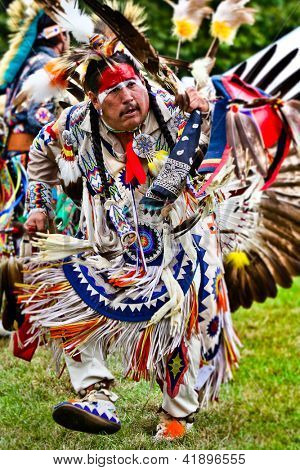 YORKTOWN HEIGHTS, NY - SEPTEMBER 25:Unidentified Native American Indian dances at the FDR Pow Wow on September 25, 2011 in Yorktown Heights, NY