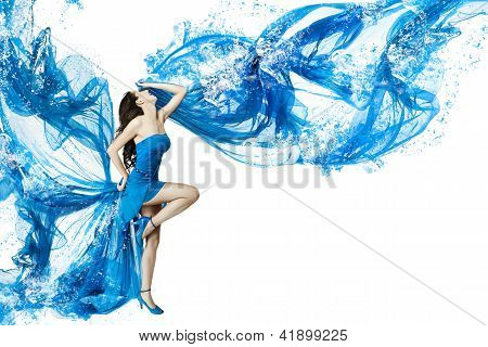 Woman Dance In Blue Water Dress Dissolving In Splash