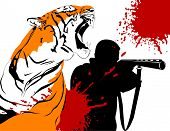 image of gun shot wound  - Wounded tiger against a hunter with a gun  - JPG