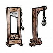 stock photo of guillotine  - cartoon guillotine and hangman - JPG