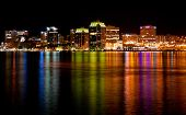stock photo of natal  - The downtown Halifax Nova Scotia skyline at night after the annual Natal day celebrations - JPG