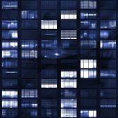 pic of voyeur  - Voyeuring Office Building After Dark In Blue Tones - JPG