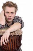 picture of bongo  - Man sat with bongo - JPG
