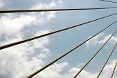 stock photo of skyway bridge  - Suspension cables on the Skyway Bridge over Tampa Bay - JPG
