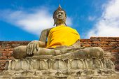 pic of scruple  - Stone Ancient Buddha statue of Thailand Temple - JPG