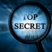 stock photo of top-secret  - top secret on a blue background with a magnifier - JPG