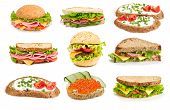 stock photo of deli  - Collage of sandwiches isolated on a white background - JPG