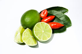 stock photo of thai food  - Lime and chilli refreshing spicy and essential in Thai cuisine - JPG