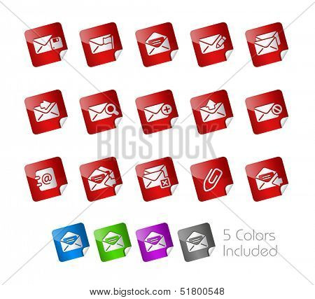 E-mail Icons // Stickers Series ---- It includes 5 color versions for each icon in different layers -----