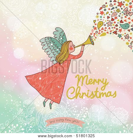 Childish Merry Christmas card in vector. Cute cartoon Fairy in the sky with bokeh effect. Stylish holiday background