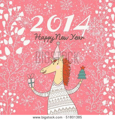 Happy 2014 Year of the Horse. Bright holiday card in vector. Funny cartoon horse in sweater with gifts