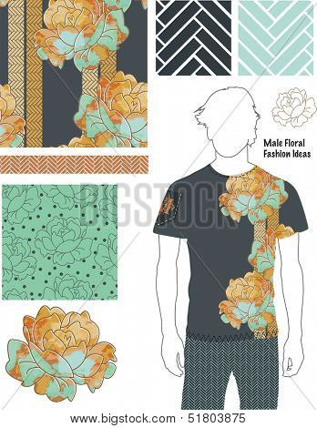 Men's Floral Fashion Patterns. Use as fills, digital paper, or print off onto fabric to create unique items.