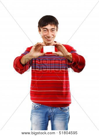 Smiling Man With Business Card