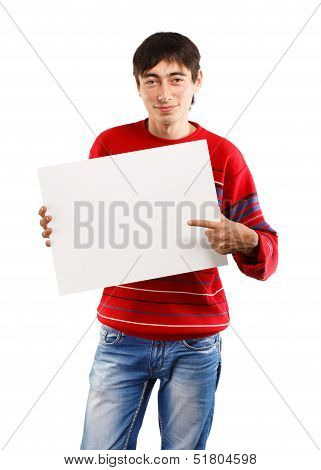 Smiling Man With Big Card