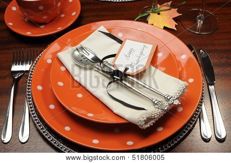 Beautiful Autumn Fall Theme Thanksgiving Dinner Table Place Setting With Happy Thanksgiving Tag Atta