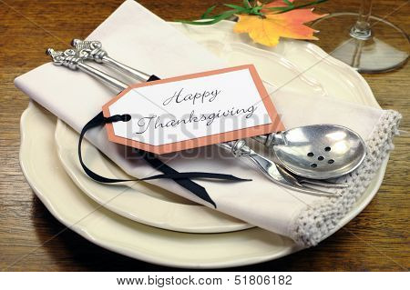 Happy Thanksgiving Individual Dinner Table Place Seeting With Best Dinnerware And Silverware And Gre