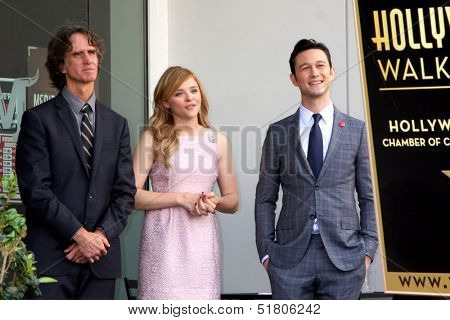 LOS ANGELES - OCT 3:  Jay Roach, Chloe Grace Moretz, Joseph Gordon-Levitt at the Hollywood Walk of Fame Ceremony for Julianne Moore at W Hollywood Hotel on October 3, 2013 in Los Angeles, CA