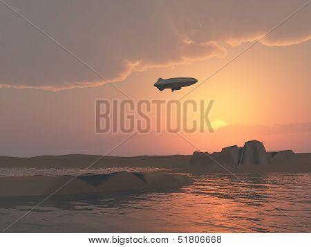 Cloudy Zepplin Sunset Over Lake