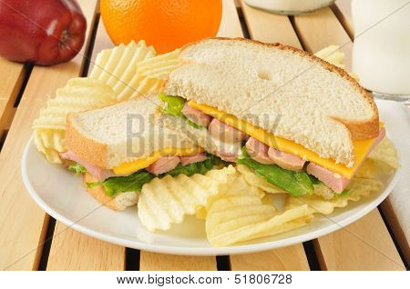 Vienna Sausage Sandwich With Potato Chips