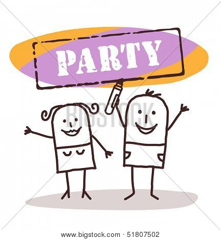 happy couple with party sign