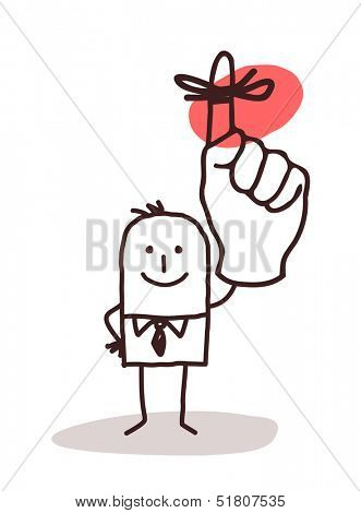 Businessman Holding Up Finger with Reminder Ribbon