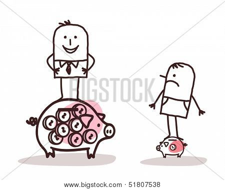 Businessman on Big Piggy Bank and  Poor Man with Little One