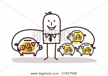 Businessman With Lot of Piggy Banks