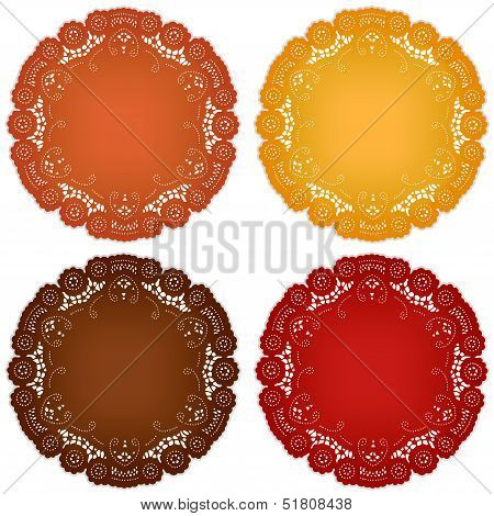Vintage Lace Doily Place Mats, Harvest Colors