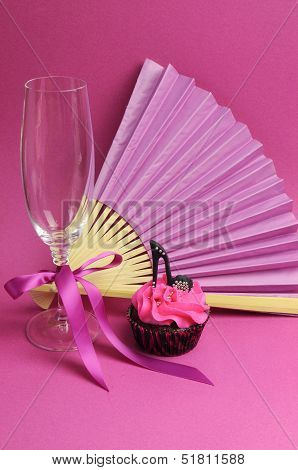 Pink Party Cupcake With Black Stilleto High Heel Shoe With Champagne Glass, Fan And Chocolates For T