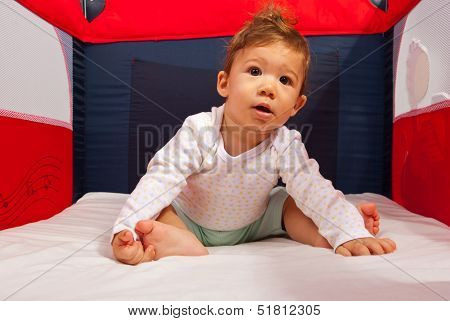 Curious Baby In Playpen