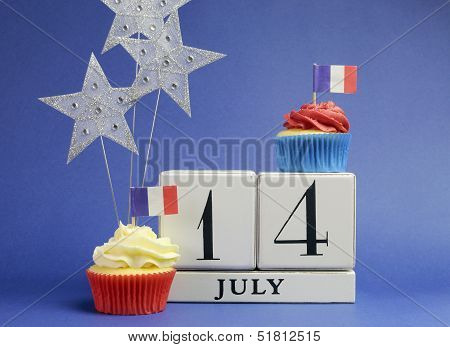 France National Holiday Calendar, 14 July, Fourteenth Of July, Bastille Day, With Flags , Cakes