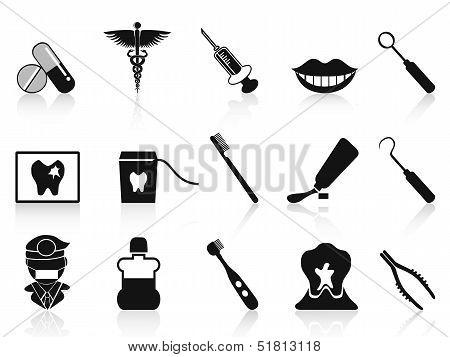 Black Dental Icons Set