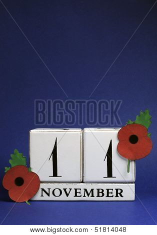 Save The Date, White Block Calendar, For November 11, Remembrance Day, Red Poppy Day, Or Armistice D