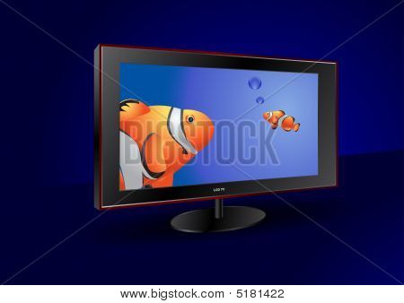 Flat Tv With Fishes On The Screen