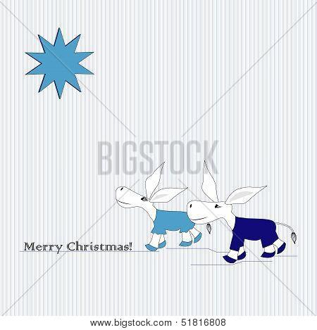 Bethlehem star and donkeys