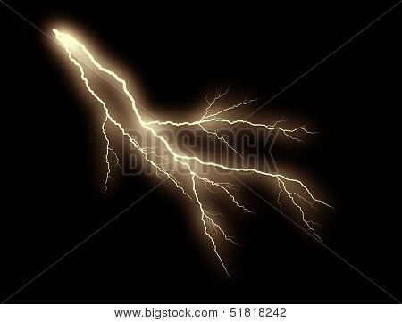 Orange Lightning bolt On Black Background